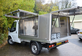 Ford Transit Flat with a Farriers Workshop.