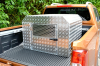 New Dog Box 2017 with perforated mesh on the top of the door.