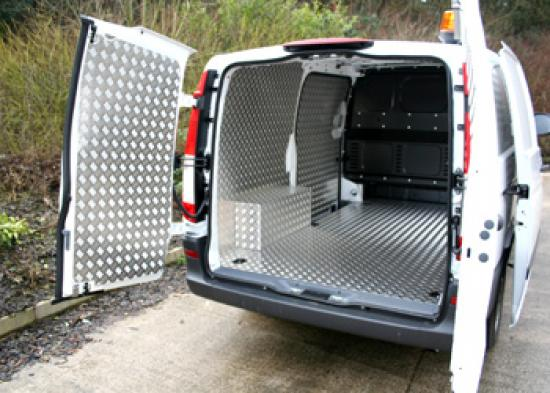 Mercedes Vito fully lined in Aluminium Chequer Plate