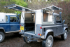 Land Rover 90 Aluminium Samson Canopy, for use as a Farriers Mobile Workshop.