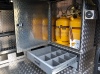 Gaslow Refillable Tanks System fitted into a Aluminium Cupboard housed inside a Farriers Van.