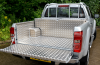 cloaser photo of the Storage box and ladder rack on the aluminium lining.