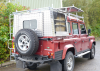 Land Rover Defender 110 with a Samson Canopy fitted and an SDV Roof Rack.