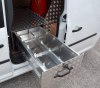 Lockable slide out shoe drawer with the shoes on runners.