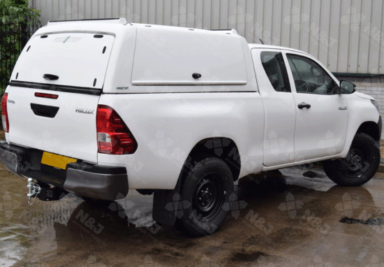 NEW TOYOTA HILUX EXTRA/CAB 2016 ONWARDS MID ROOF PRO//TOP® CANOPY WITH GULLWING SIDE ACCESS DOORS IN 040 WHITE