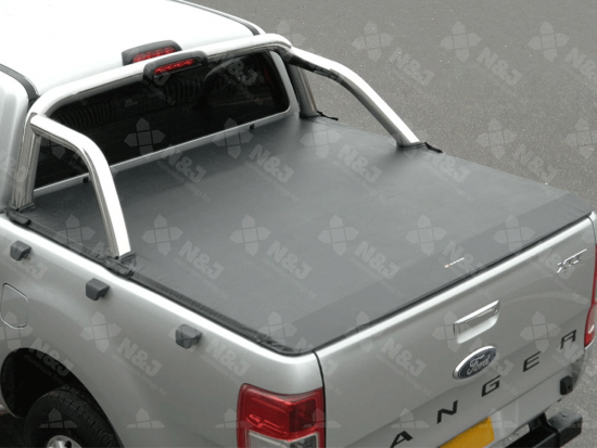 FORD RANGER DOUBLE CAB 2012 ONWARDS TONNEAU COVER – SOFT ROLL UP ULTRA TAUGHT TO FIT WITH OE ROLL BAR