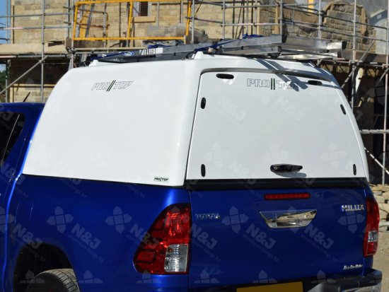 NEW TOYOTA HILUX 2016 ONWARDS PRO//TOP® TRADESMAN CANOPY HIGH ROOF BLANK SIDED IN 040 WHITE